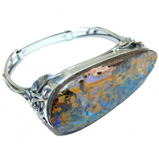 Rustic Style Golden Bee Boulder Opal handmade .925 Sterling Silver handcrafted Bracelet / Cuff