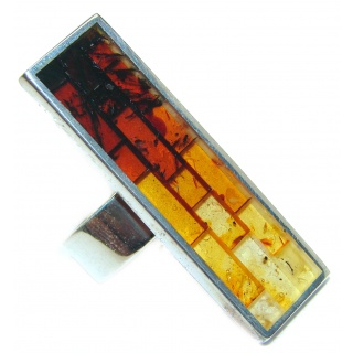 Big Mosaic Brown Polish Amber Sterling Silver handmade Ring s. 8 adjustable