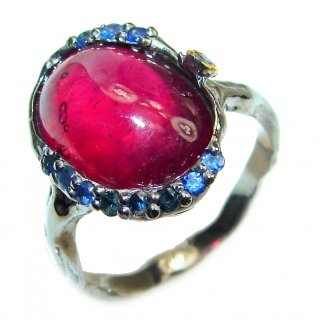 Genuine 12 ctw Star Ruby black rhodium over .925 Sterling Silver handcrafted Statement Ring size 7 3/4