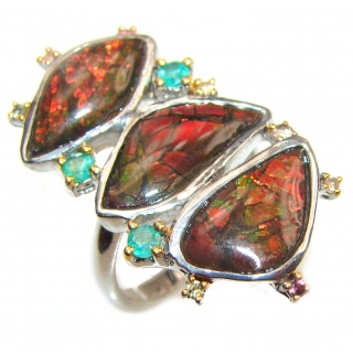 Outstanding Genuine Canadian Ammolite .925 Sterling Silver handmade ring size 8 1/2