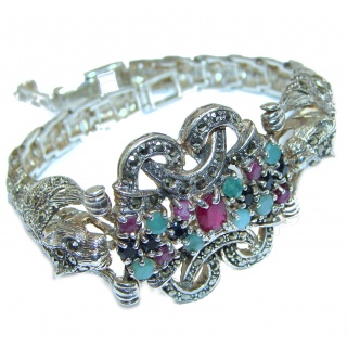 Precious Panthere Emerald Ruby Marcasite Sterling Silver Tennis Bracelet