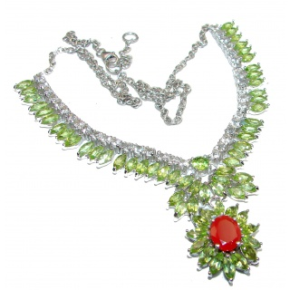 One of the kind Peridot Carnelian .925 Sterling Silver handmade necklace