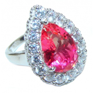Genuine 25ct Pink Tourmaline .925 Sterling Silver handcrafted ring; s. 7 3/4