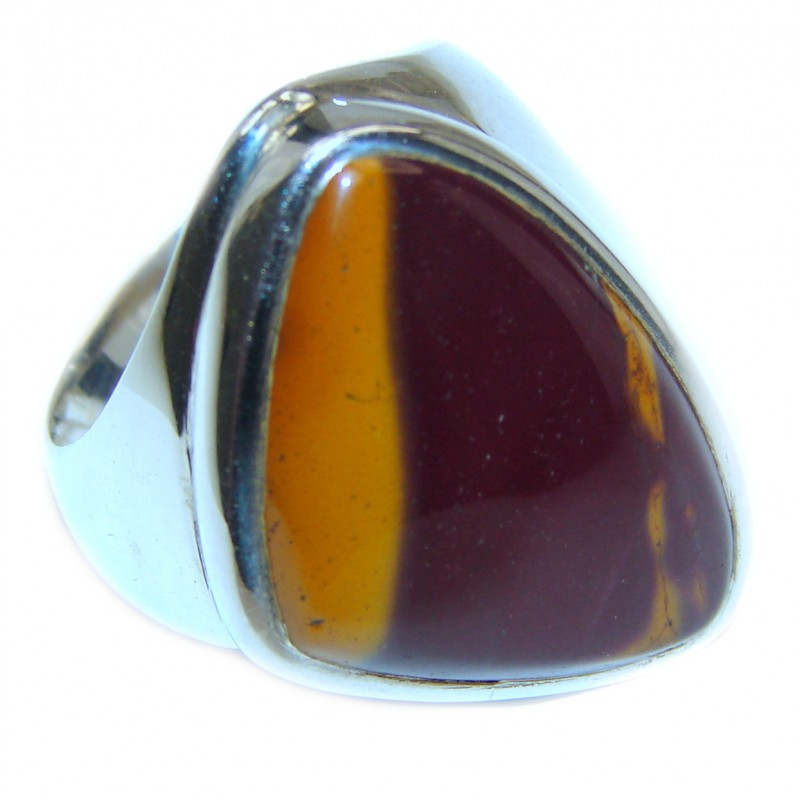 Large Flawless Australian Mookaite .925 Sterling Silver Ring size 8