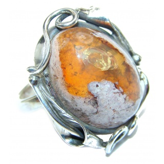 Good Energy Orange Genuine Mexican Opal .925 Sterling Silver handmade Ring size 8 adjustable