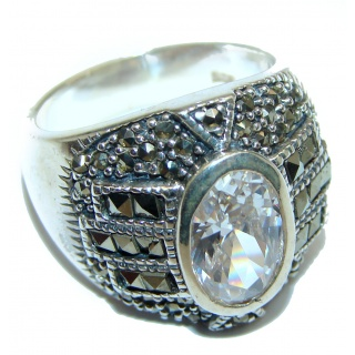 Fancy White Topaz .925 Sterling Silver handmade Ring s. 8