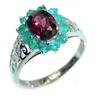 Genuine 4.5 ctw Ruby .925 Sterling Silver handcrafted Statement Ring size 8
