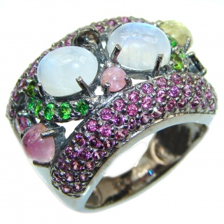 Energizing Moonstone Ruby Tourmaline .925 Sterling Silver handmade Ring size 8