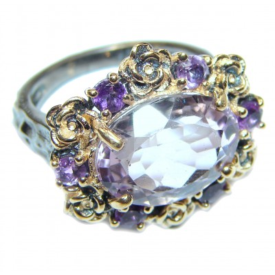Spectacular genuine Pink Amethyst .925 Sterling Silver handcrafted Ring size 6 1/4