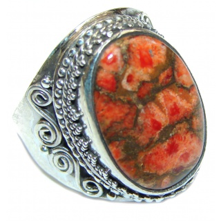 Copper Turquoise .925 Sterling Silver ring; s. 7 1/4