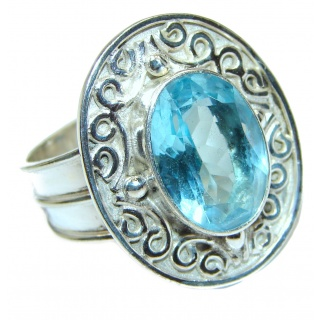 Melissa Genuine Swiss Blue Topaz .925 Sterling Silver handcrafted Statement Ring size 10