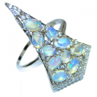 Dazzling natural Ethiopian Opal .925 Sterling Silver handcrafted ring size 8