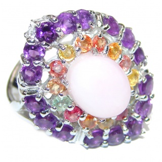 Pink Opal Sapphire .925 Sterling Silver handcrafted ring size 6 3/4