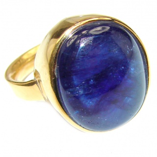 Large Genuine 45ctw Sapphire 18K Gold over .925 Sterling Silver handcrafted Statement Ring size 8
