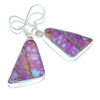 Solid Copper vains in Purple Turquoise .925 Sterling Silver earrings