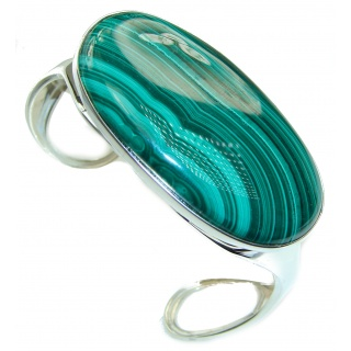 Eternal Paradise 57.8 grams Natural Malachite highly polished .925 Sterling Silver handcrafted Bracelet / Cuff