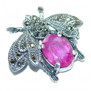 Fly Ruby MARCASITE .925 Sterling Silver handcrafted Pendant