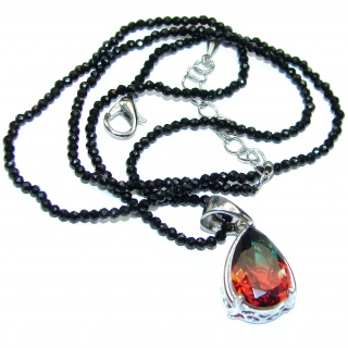 Large authentic Brazilian Tourmaline Rose Gold over .925 Sterling Silver handcrafted necklace