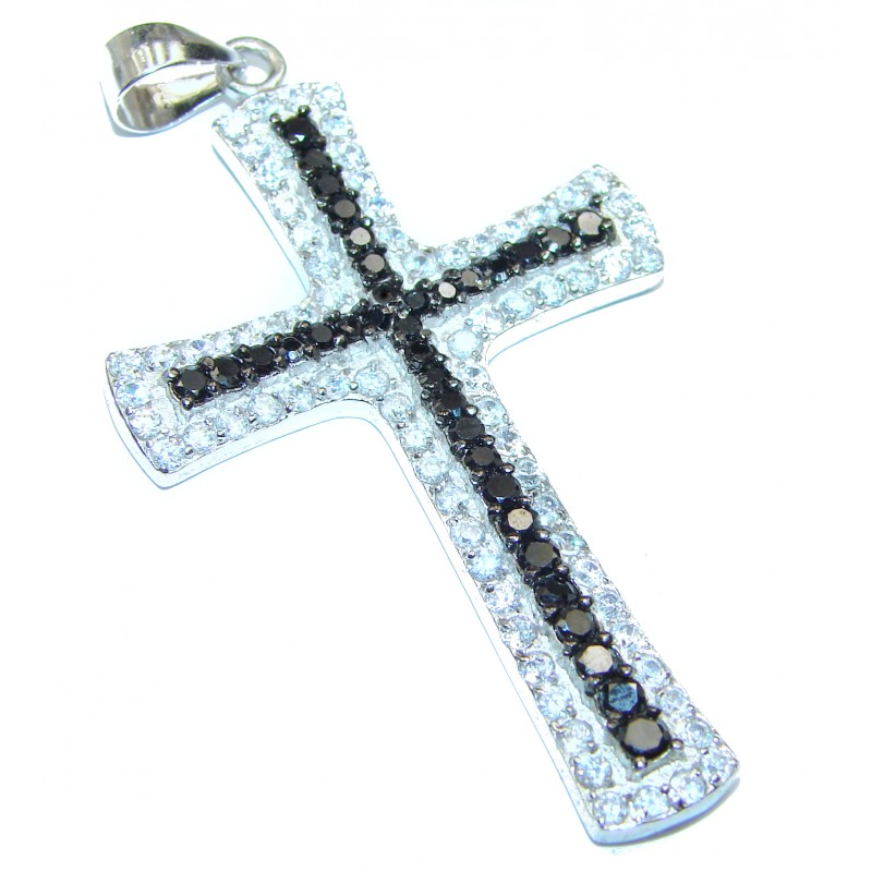 Holy Cross genuine Spinel .925 Sterling Silver handmade pendant