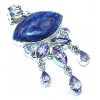 Vinatge Style Blue Sodalite .925 Sterling Silver handcrafted Pendant