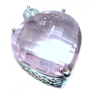 Perfect Pink Heart Topaz .925 Sterling Silver handcrafted Pendant