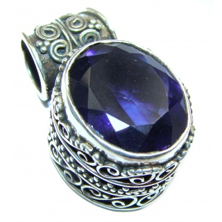Artisan Design Carved purple Turquoise .925 Sterling Silver pendant