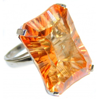 Fancy Golden Topaz .925 Sterling Silver handcrafted LARGE Ring Size 7 1/4