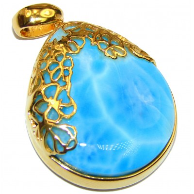 Best Authentic Caribbean Larimar 18K Gold over .925 Sterling Silver handmade pendant