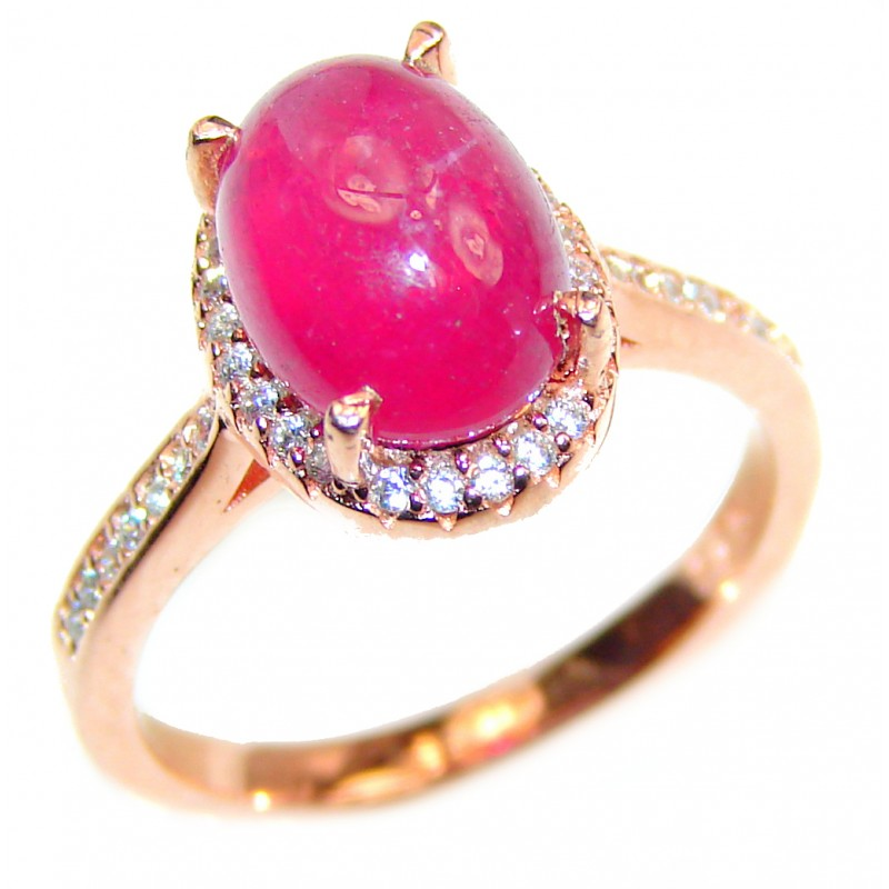 Genuine 12 ctw Star Ruby Gold over .925 Sterling Silver handcrafted Statement Ring size 6
