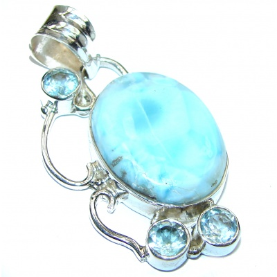 Exquisite Beauty old fashion authentic Larimar .925 Sterling Silver handmade Pendant