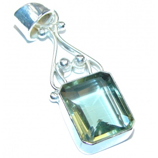 Spectacular Green Amethyst .925 Sterling Silver handcrafted pendant