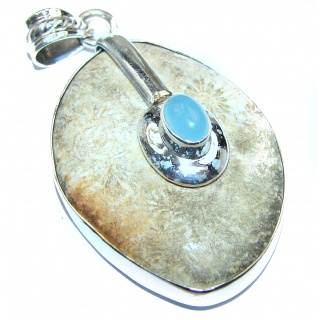 Fossilized Coral .925 Sterling Silver handcrafted pendant