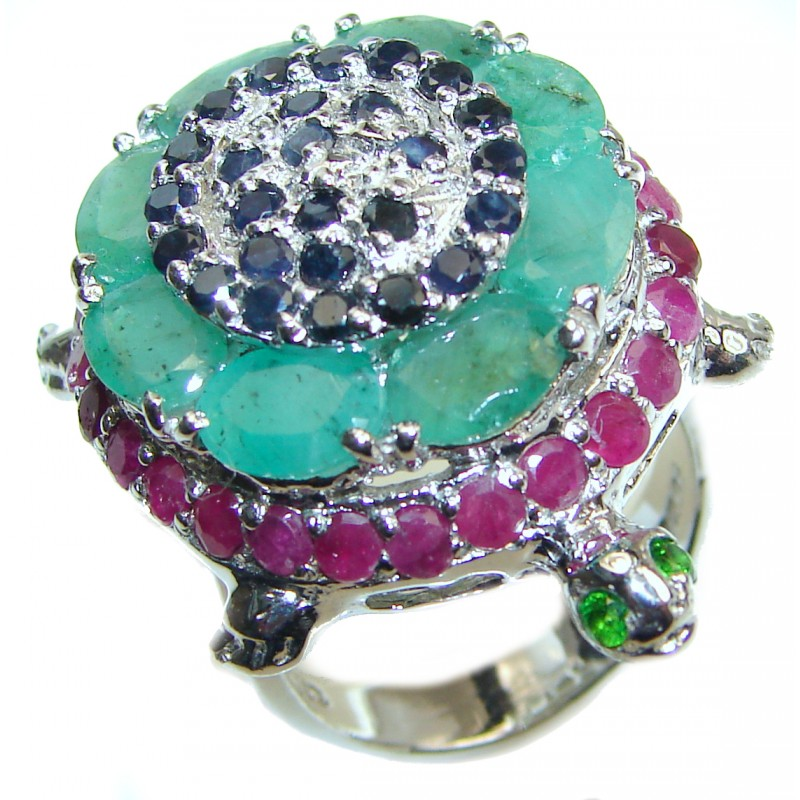 Good health and Long life Turtle Genuine Ruby Emerald .925 Sterling Silver handmade HUGE Ring size 9