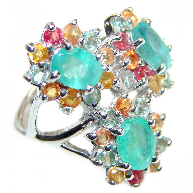 Posh Genuine Colombian Emerald .925 Sterling Silver handcrafted Statement Ring size 7