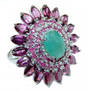 Genuine Emerald Ruby .925 Sterling Silver handcrafted Statement Ring size 7 3/4