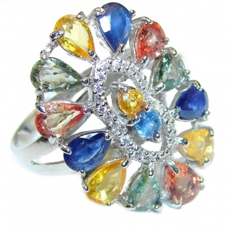 Genuine multicolor Sapphire .925 Sterling Silver handcrafted Ring size 9