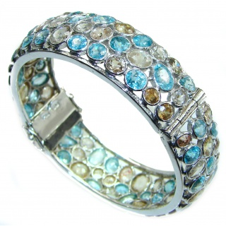 One of the kind Morganite & Apatite .925 Sterling Silver handmade bangle Bracelet