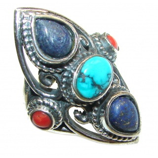 Coral Turquoise .925 Sterling Silver handcrafted Ring s. 9