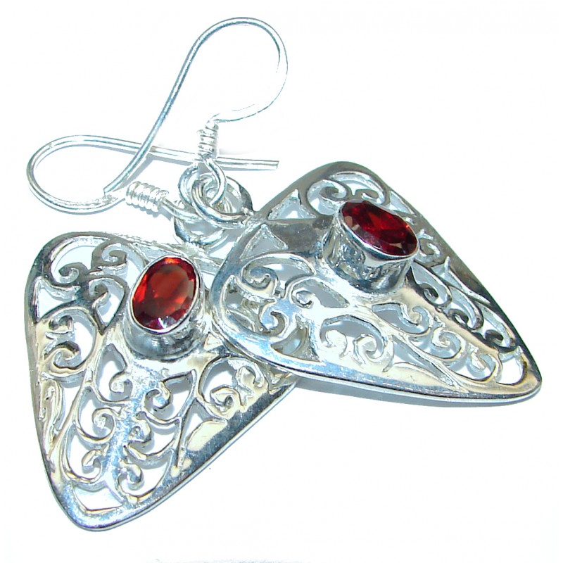 Authentic Garnet rose gold over .925 Sterling Silver handmade earrings