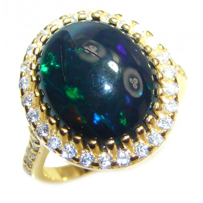 Vintage Design 2.5ctw Genuine Black Opal 14K Gold over .925 Sterling Silver handmade Ring size 6 1/4