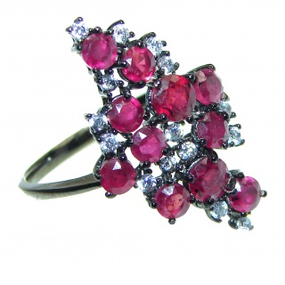 Genuine Ruby .925 Sterling Silver handcrafted Statement Ring size 8 1/4