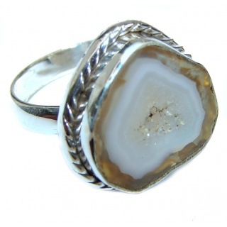 Huge Exotic Druzy Agate Sterling Silver Ring s. 8 1/2