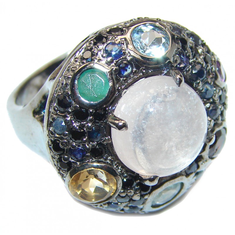 Fire Moonstone Peridot black rhodium over .925 Sterling Silver handmade ring s. 9