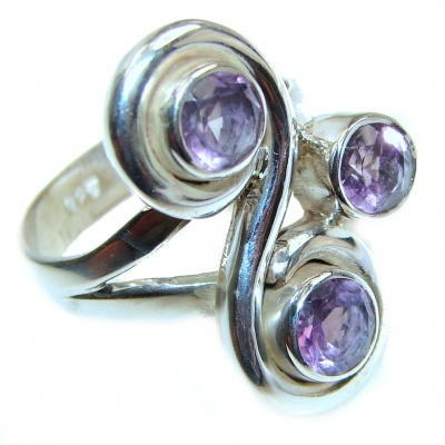 Alessandra Natural Amethyst .925 Sterling Silver handcrafted ring size 9 1/2