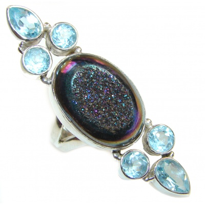 Mysterious Titanum Druzy .925 Sterling Silver ring s. 7