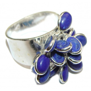 Fashion Beauty Lapis Lazuli Sterling Silver cha -cha Ring s. 11