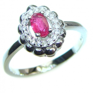 Genuine Ruby .925 Sterling Silver handcrafted Statement Ring size 6