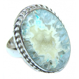 Huge Exotic Druzy Agate Sterling Silver Ring s. 10