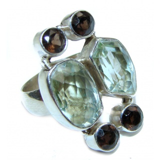 Huge Natural Green Amethyst .925 Sterling Silver handmade Cocktail Ring s. 6