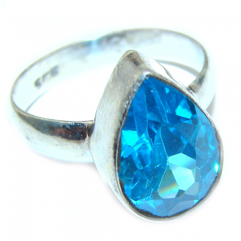 Melissa Genuine Swiss Blue Topaz .925 Sterling Silver handcrafted Statement Ring size 8